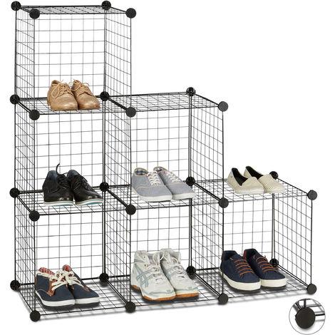 Estantería Modular con 6 Compartimentos, Metal, Negro, 110 x 110 x 36.5 cm
