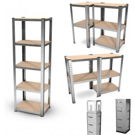 Estantería modular de almacenamiento de metal - Carga hasta 875kg - 180 X 60 X 45 cm - Gris - Gris
