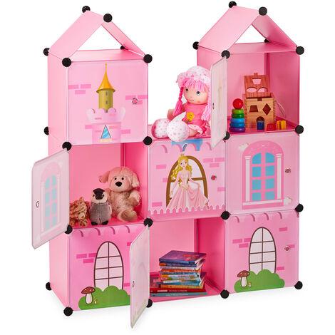 Estantería modular infantil, Castillo de princesas, Plástico, Armario con puertas, 128 x 110 x 37 cm, Rosa
