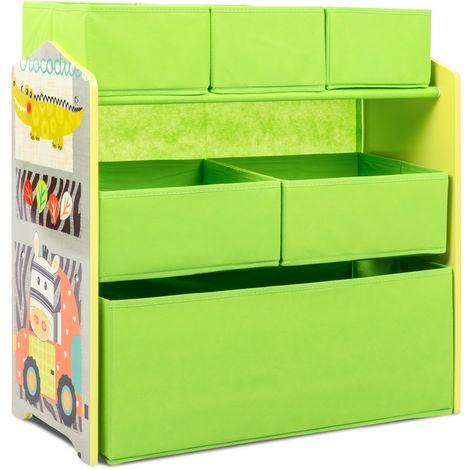 Estanteria mueble infantil madera verde habitacion niños 6 cajas tela juguetes
