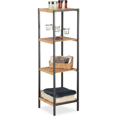 Estantería, Mueble multi-usos, Estantes, Marco de metal, Cuadrado, Marrón, 104 x 30 x 30 cm