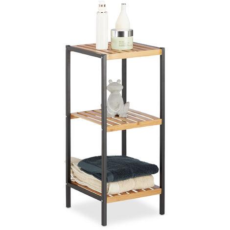 Estantería, Mueble multi-usos, Estantes, Marco de metal, Cuadrado, Marrón, 70 x 30 x 30 cm