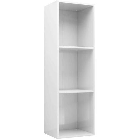 Estantería/mueble TV aglomerado blanco brillante 36x30x114 cm