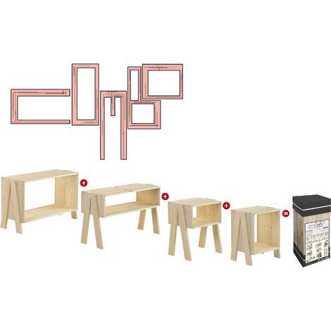 Estantería multifuncional de 4 módulos de madera de pino (múltiples composiciones)