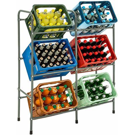 Estantería para 6 cajas apilables estandarizadas (tipo Eurobox) - soporte para cajas organizadoras, estructura de tubos de acero con posible fijación mural, estantes para cajas de almacenamiento - gris
