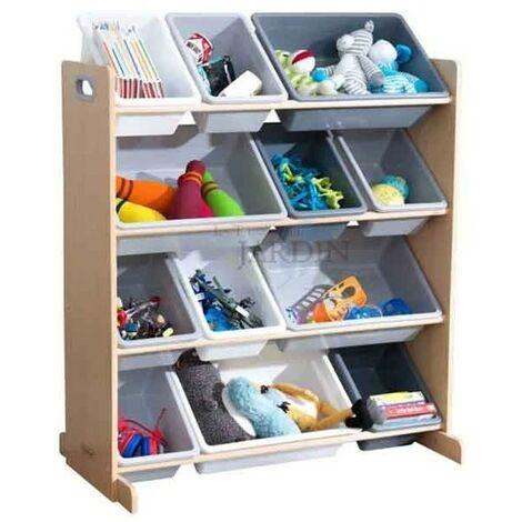 Estantería para almacenar juguetes con 12 cubos