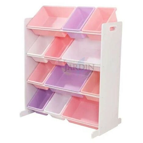 Estantería para almacenar juguetes con 12 cubos. Colores pastel y blanco