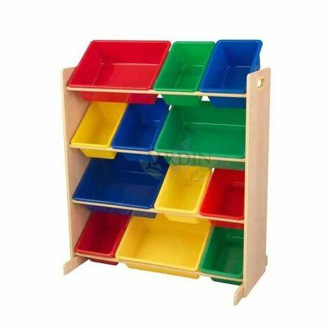 Estantería para almacenar juguetes con 12 cubos. Colores primarios y natural