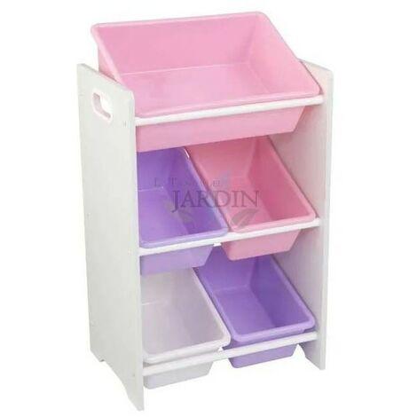 Estantería para almacenar juguetes con 5 cubos. Colores pastel y blanco