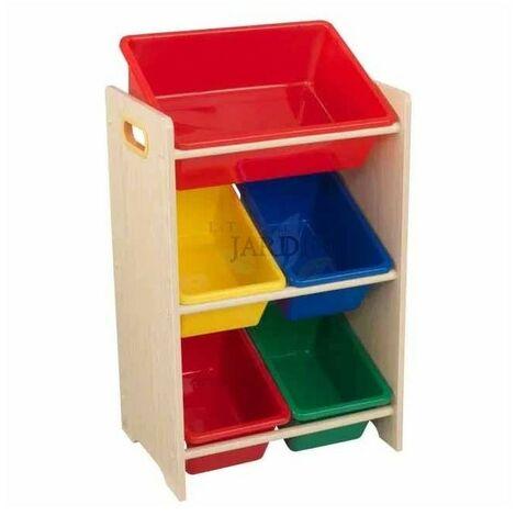 Estantería para almacenar juguetes con 5 cubos. Colores primarios y natural