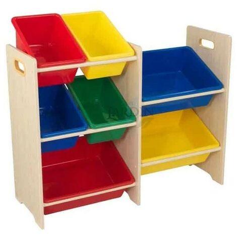 Estantería para almacenar juguetes con 7 cubos. Colores primarios y natural