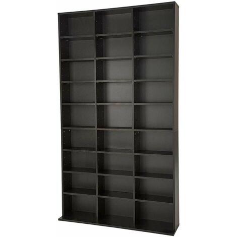 Estantería para CD´s con 27 compartimentos para 1080 CD´s - estantería de madera para DVD, mueble para CDs con pared posterior estable, estantes de almacenamiento para salón