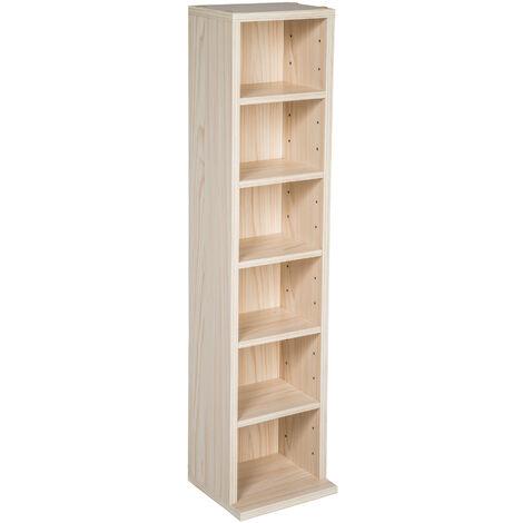 Estantería para CD´s con 6 compartimentos para 102 CD´s - estantería de madera para DVD, mueble para CDs con pared posterior estable, estantes de almacenamiento para salón