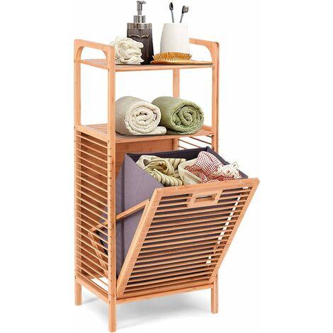 Estantería para Ducha de Bambú con Cesto de Ropa Sucia Mueble de Baño con 2 Estantes Abiertos para Almacenaje Organizador