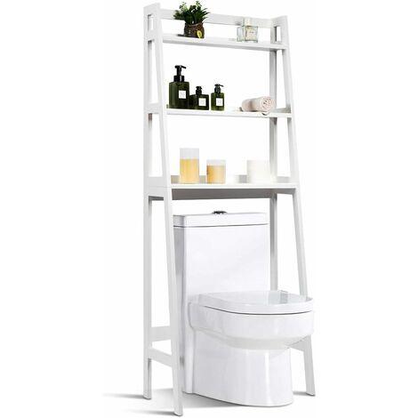 Estantería para Inodoro con 3 Estantes Mueble de Baño Ducha Estante 64x32x161centímetros para Lavadora Color Blanco