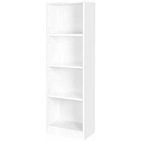 Estantería para Libros con 4 compartimientos, Librería, Estantes Regulables, Estantería de Archivo para Sala de Estar, habitación Infantil y Oficina en casa