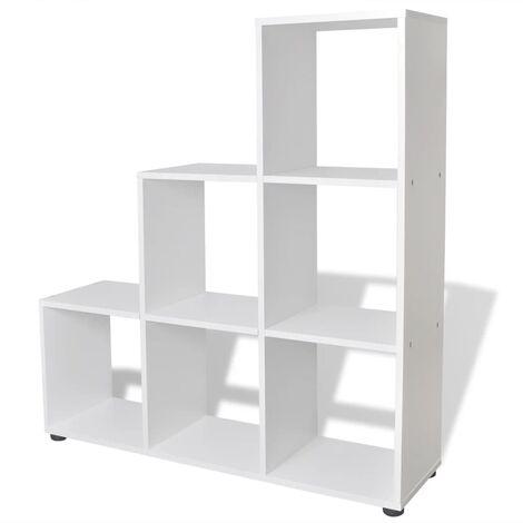 Estantería para libros en forma de escalera blanco/roble y varios tamaños