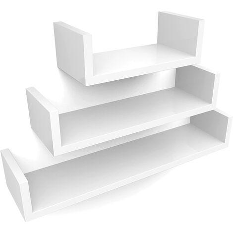 Estantería para pared Juego de 3 estantes para libros CDs Estanterías de pared Cubos retro Blanco LWS66W