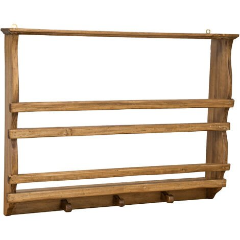 Estantería para platos de madera maciza de tilo, de estilo rústico, acabado natural (cm: 85 x 15 x 65). Made in Italy
