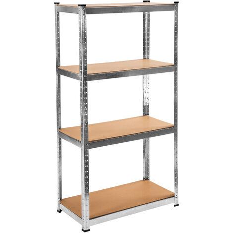 Estantería para taller con 4 estantes - estantería metálica de acero, estantes ajustables de metal para trastero, anaqueles con esquinas redondeadas - marrón