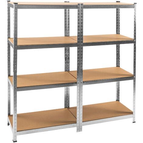 Estantería para taller con 8 estantes - estantería metálica de acero, estantes ajustables de metal para trastero, anaqueles con esquinas redondeadas - marrón