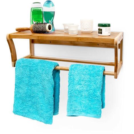 - Estantería para toallas Toallero Bambú 60 x 20 x 25 cm Con material de montaje