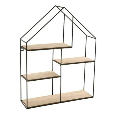 Estanteria pared 4b 40x11x51cm madera/metal forma casa versa