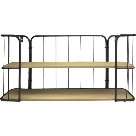 Estantería Pared Madera y Metal 2 Estantes, Estanterías Flotantes Modernas para Dormitorio/Salón 75x36x20 cm