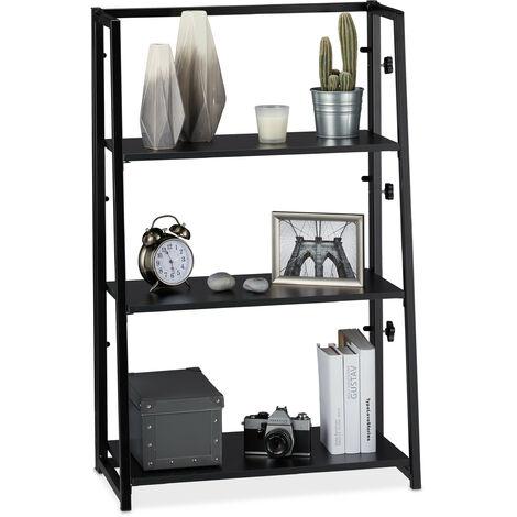 Estantería plegable, Tres estantes, Hierro & Madera, 101 x 64 x 34 cm, Negro