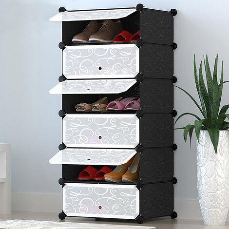 Estantería por módulos Organizador de zapatos|| — zapatero con 6 estantes (110*45*35cm , resistente al polvo)