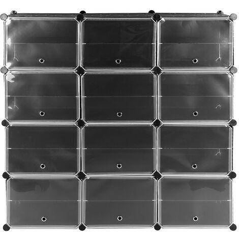 Estantería por módulos||- Zapatero Modular 24 Cubos, Armario por Módulos 126*32*127cm