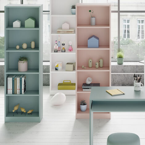 Estantería Salon 6 baldas, librería Vertical Acabado en Color Verde Acqua, Medidas: 180 cm (Alto) x 52 cm (Ancho)