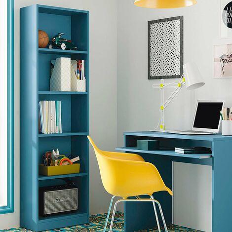 Estantería Salon Vertical Acabado Azul, Medidas: 180 cm (Alto) x 52 cm (Ancho) x 25 cm (Fondo)