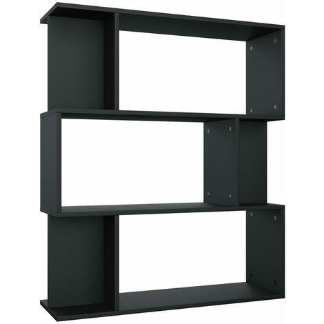 Estantería/separador de ambientes aglomerado negro 80x24x96 cm