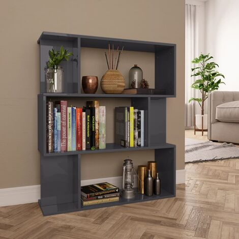 Estantería/separador espacio aglomerado gris brillo 80x24x96 cm