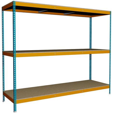 Estantería sin Tornillos para 350 kgs por nivel. Media Carga con 3 niveles. Med. 2000x2400x750 mm.. Color Azul/Naranja