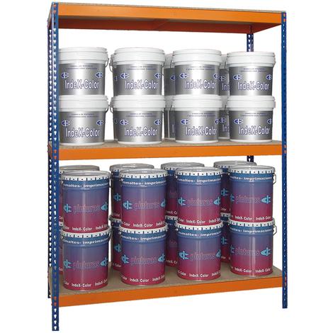 Estantería sin Tornillos para 500 kgs por nivel. Media Carga con 3 niveles. Med. 2000x1500x600 mm.. Color Azul/Naranja