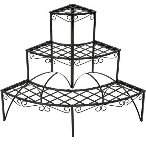 Estantería-soporte curva para maceteros con 3 niveles - soporte a tres alturas para macetas, estantería metálica en escalera para exterior, base para macetas en interior - negro
