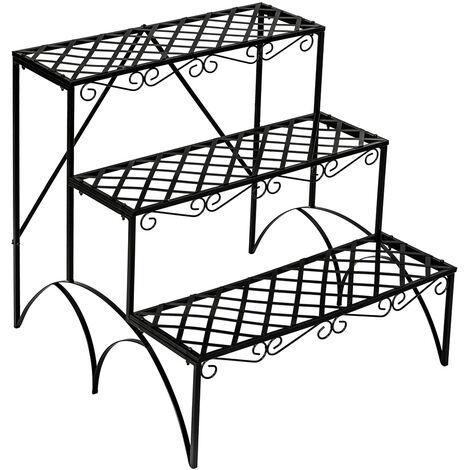 Estantería-soporte para maceteros con 3 niveles - soporte a tres alturas para macetas, estantería metálica en escalera para exterior, base para macetas en interior - negro