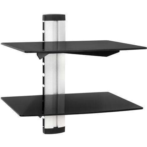 Estantería soporte para reproductores DVD con 2 estantes modelo 1 - estantería de pared para CDs, soporte de dos baldas de vidrio de seguridad, estantes ajustables en altura para reproductor de sonido - negro