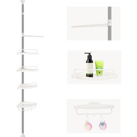 Estantería telescópica para la ducha|episas para baño| baldas para baño| estantes de esquina ajustables 254-304cm - blanco