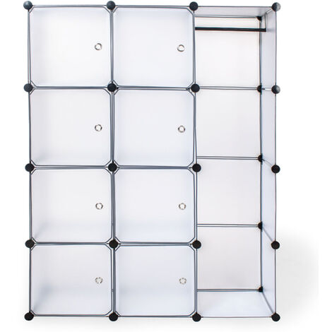 Estantería transparente - estantería modular multifuncional, mueble con paneles frontales de cierre extraíbles, cajonera resistente con cierre magnético