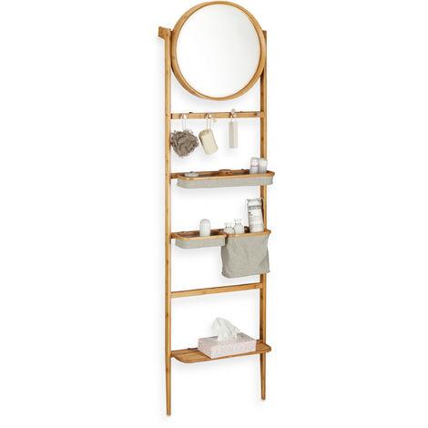 Estantería y Toallero Escalera para Baño, Bambú, Beige, 184 x 48,5 x 21 cm