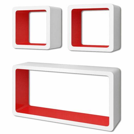 Estanterías de cubos para pared 6 unidades blanco y rojo
