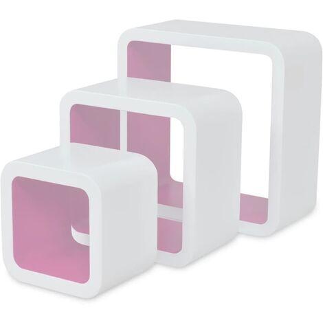 Estanterías de cubos para pared 6 unidades blanco y rosa
