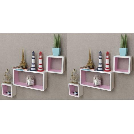 Estanterias de cubos para pared 6 unidades blanco y rosa