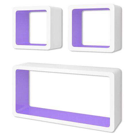 Estanterías de cubos para pared 6 unidades blanco y violeta