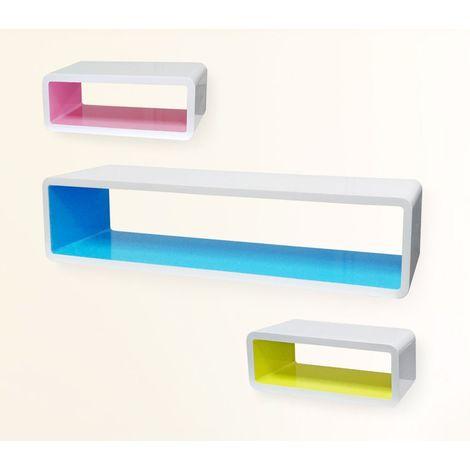 Estanterías diferentes colores hechas de madera lacada (Set 3 piezas)
