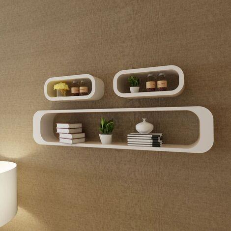 Estantes de cubo de pared flotante MDF blanco 3 unidades - Blanco