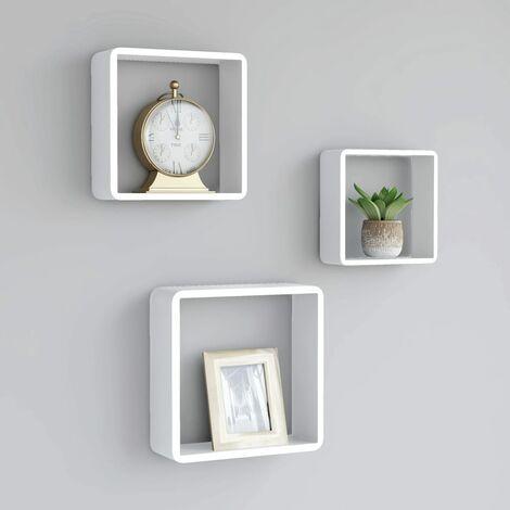 Estantes de cubos para pared 3 piezas blanco - Blanco